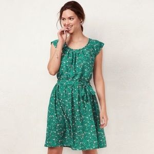 LC Lauren Conrad Green Floral Pleated Dress Small